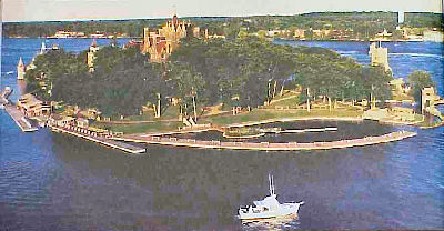 Aerial view of Heart Island in the Thousand Islands area of New York State.