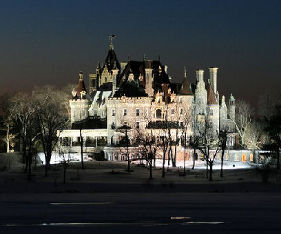 A Splendid Picture Of Boldt Castle At Night
