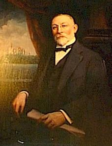 Oil painting of George Boldt. Notice Boldt Castle painted in the background.