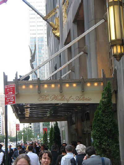 The hotel's name with the double hyphen on the awning over the Park Avenue entrance.